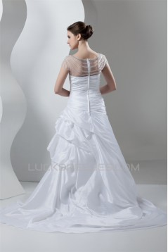 Breathtaking Taffeta A-Line High-Neck Best Beading Wedding Dresses 2030646
