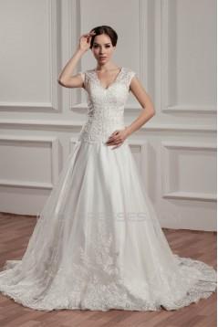 Breathtaking V-Neck A-Line Satin Organza V-Neck Lace Wedding Dresses 2030647