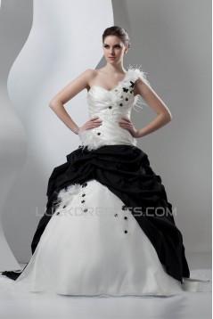 Ball Gown Black White Beading Sleeveless One-Shoulder Wedding Dresses 2030648