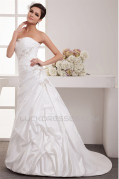 Charming A-Line Strapless Taffeta Sleeveless Wedding Dresses 2030650