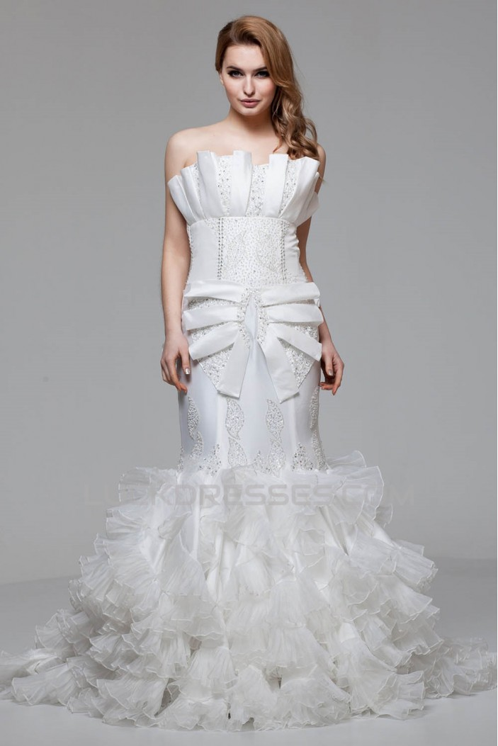 Charming Strapless Satin Organza Mermaid/Trumpet Beaded Wedding Dresses 2030652