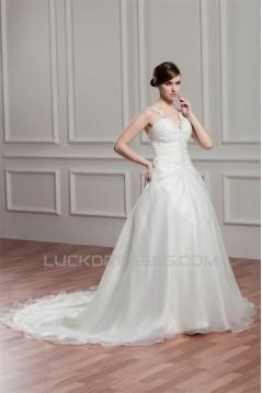 Charming V-Neck Sleeveless Satin Organza A-Line Wedding Dresses 2030653