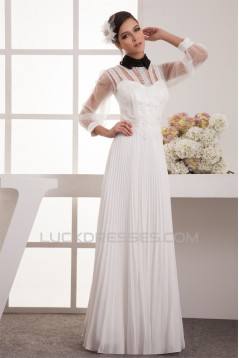 Chiffon Fine Netting A-Line Long Sleeve Beaded Lace Wedding Dresses 2030654