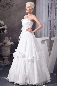 Chiffon Satin Silk like Satin A-Line Sleeveless Most Beautiful Wedding Dresses 2030655