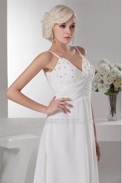 Chiffon Silk like Satin A-Line Sleeveless Beaded Wedding Dresses 2030656