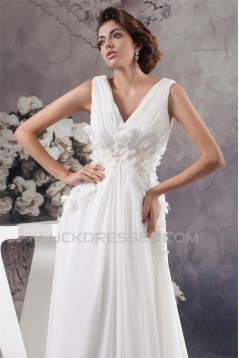Chiffon Silk like Satin Sleeveless V-Neck Reception Wedding Dresses 2030657