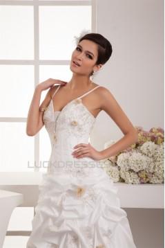 Elegant A-Line Satin Organza Taffeta Spaghetti Straps Wedding Dresses 2030660