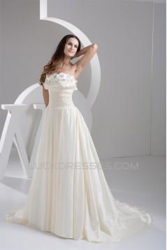 Elegant A-Line Satin Taffeta Strapless Best Wedding Dresses 2030662