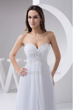 Elegant A-Line Sleeveless Chiffon Sweetheart Best Wedding Dresses 2030663