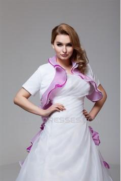 Elegant Satin Organza Strapless A-Line Short Sleeve Wedding Dresses 2030666