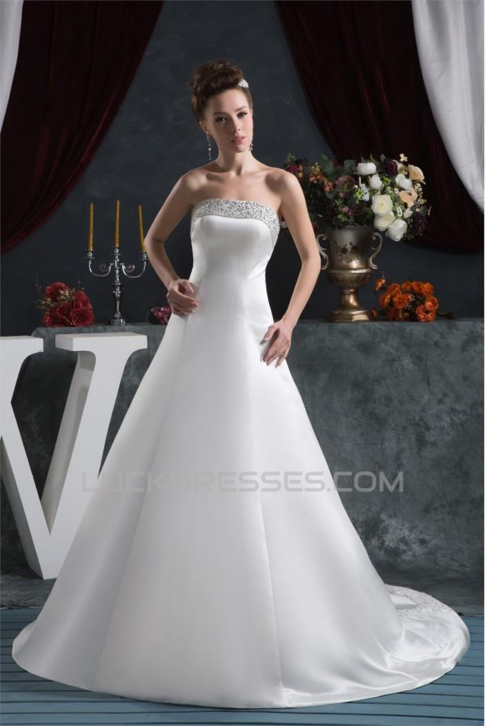 Elegant Satin Strapless A-Line Sleeveless Beaded Wedding Dresses 2030667