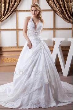 Elegant Satin Taffeta A-Line Halter Lace Sleeveless Wedding Dresses 2030670