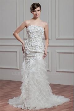 Elegant Sleeveless Mermaid/Trumpet Satin Organza Beaded Wedding Dresses 2030672