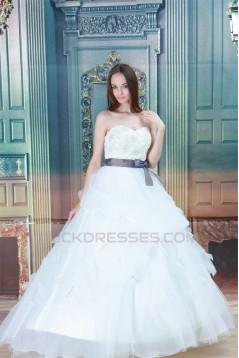 Elegant Sleeveless Sweetheart Satin Organza Ball Gown Wedding Dresses 2030673