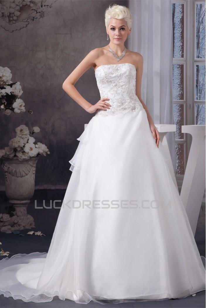 Elegant Strapless A-Line Sleeveless Satin Beaded Lace Wedding Dresses 2030676