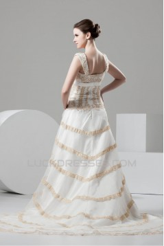 Fantastic A-Line Satin Organza Straps Lace Wedding Dresses 2030677
