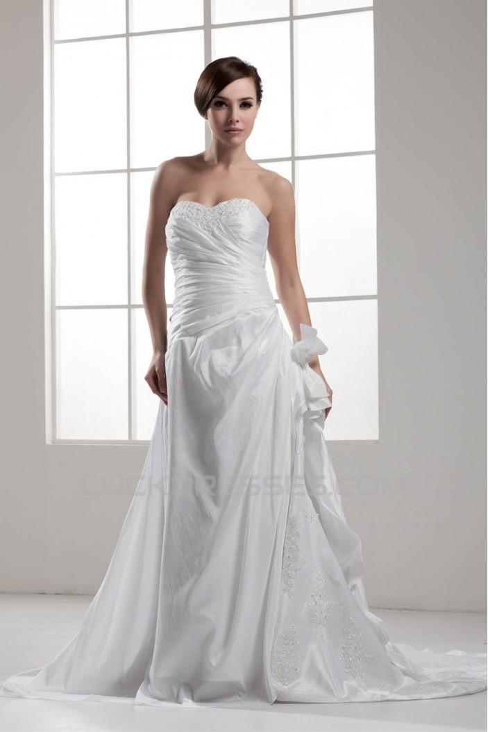 Fantastic A-Line Satin Taffeta Sweetheart Sleeveless Wedding Dresses 2030680