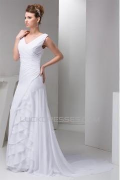 Fantastic A-Line Sleeveless Chiffon Silk like Satin Wedding Dresses 2030681