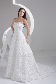 Fantastic A-Line Sleeveless Netting Strapless Wedding Dresses 2030682