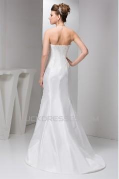 Fantastic A-Line Sleeveless Sweetheart Satin Taffeta Wedding Dresses 2030683