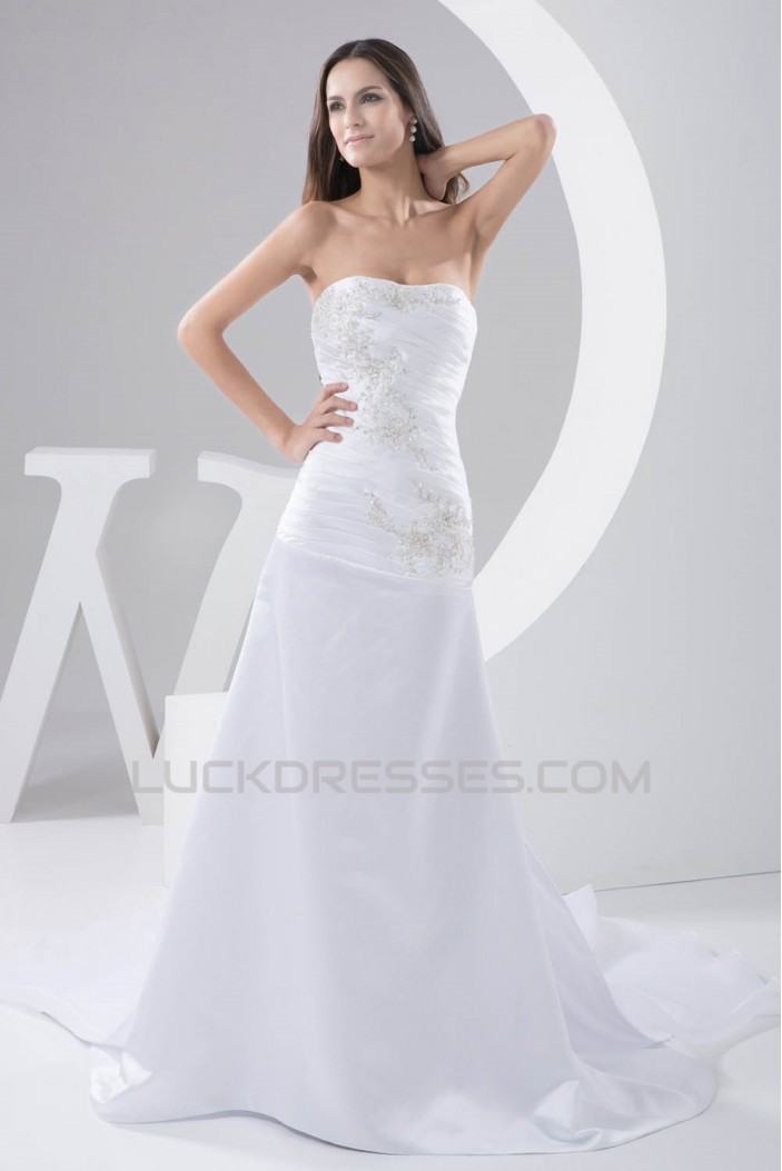 Fantastic A-Line Soft Sweetheart Satin Sleeveless Lace Wedding Dresses 2030684