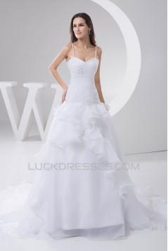 Fantastic A-Line Spaghetti Straps Sleeveless Satin Wedding Dresses 2030685