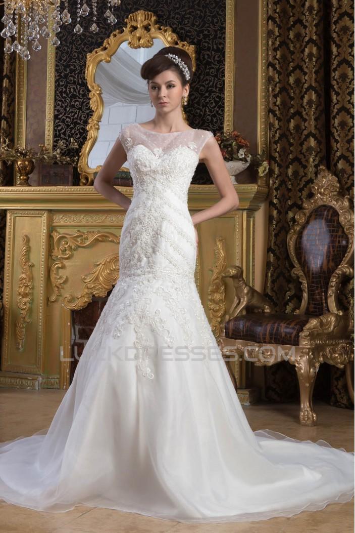 Fantastic Beaded Lace Sleeveless Portrait Wedding Dresses 2030687