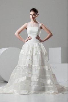 Fantastic Satin Organza A-Line Scoop Wedding Dresses 2030688