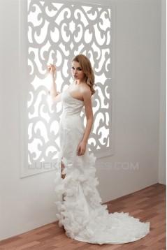 Fantastic Satin Organza A-Line Sleeveless Sweetheart Wedding Dresses 2030689