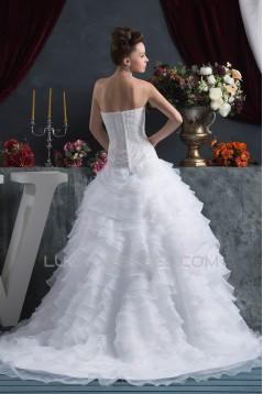 Fantastic Satin Organza Ball Gown Sleeveless Sweetheart Beaded Wedding Dresses 2030690