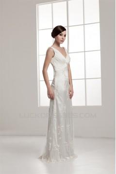 Fantastic Sleeveless Sheath/Column Straps Lace Wedding Dresses 2030692