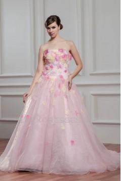 Fantastic Strapless A-Line Sleeveless Satin Organza Wedding Dresses 2030693
