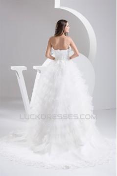 Fantastic Strapless Satin Fine Netting Sleeveless Lace Wedding Dresses 2030694