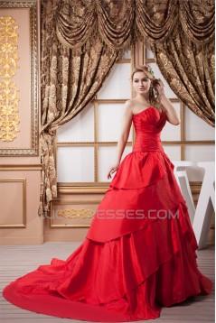Fantastic Taffeta Ball Gown Sleeveless Sweetheart Wedding Dresses 2030696
