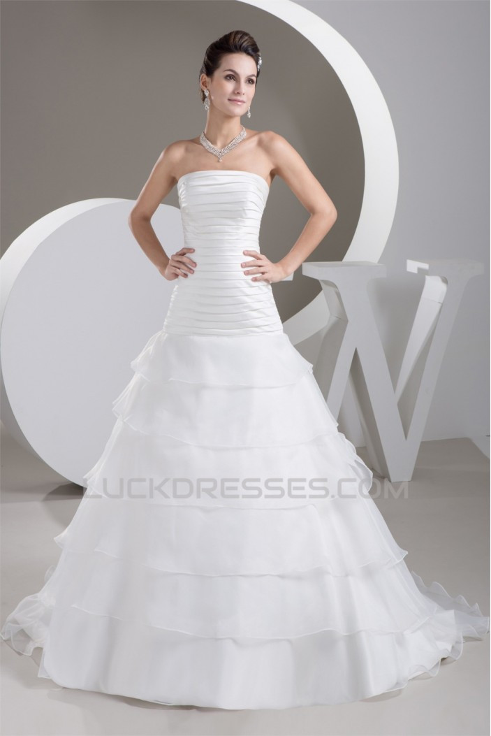 A-Line Satin Sleeveless Strapless Sweet Wedding Dresses 2030697