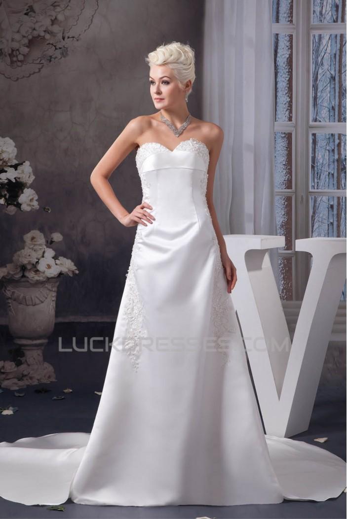 A-Line Satin Sweetheart Sleeveless Sweet Wedding Dresses 2030698