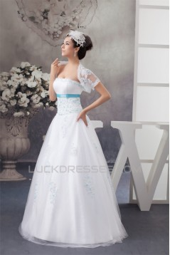 A-Line Sleeveless Satin Strapless Wedding Dresses with A Lace Jacket 2030699