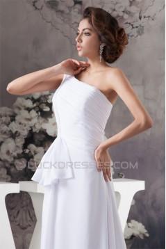 Fashionable One-Shoulder Chiffon Sleeveless A-Line Sweet Wedding Dresses 2030703