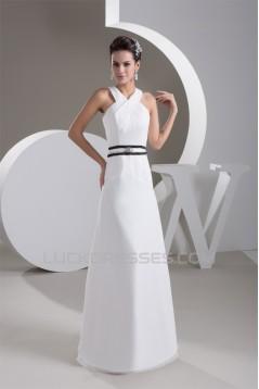 A-Line Sleeveless V-Neck Chiffon Floor-Length Wedding Dresses 2030708