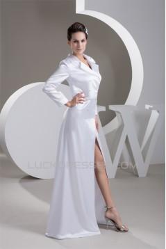 Floor-Length A-Line V-Neck Covered Buttons Wedding Dresses 2030710