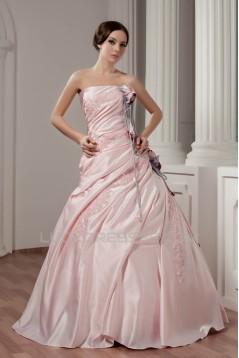 Ball Gown Floor-Length Strapless Handmade Flowers Wedding Dresses 2030712
