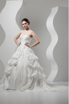 Ball Gown Sweetheart Sleeveless Lace Taffeta Wedding Dresses 2030713