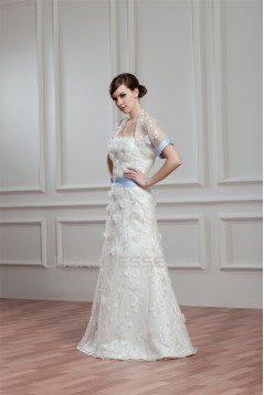Satin Lace A-Line Short Sleeve Floor-Length Wedding Dresses with A Lace Jacket 2030714
