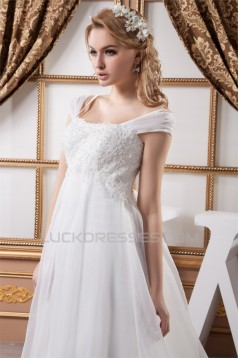 A-Line Empire Lace Straps Wedding Dresses Maternity Wedding Dresses 2030715