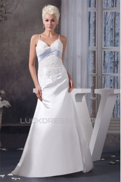A-Line Spaghetti Straps Sleeveless Lace Wedding Dresses 2030718