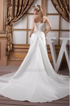 A-Line Sweetheart Sleeveless Chapel Train Beaded Wedding Dresses 2030721