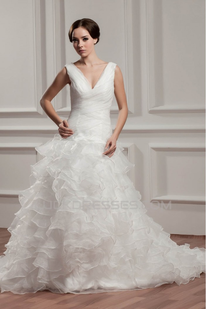 A-Line Sleeveless V-Neck Chapel Train Wedding Dresses 2030722