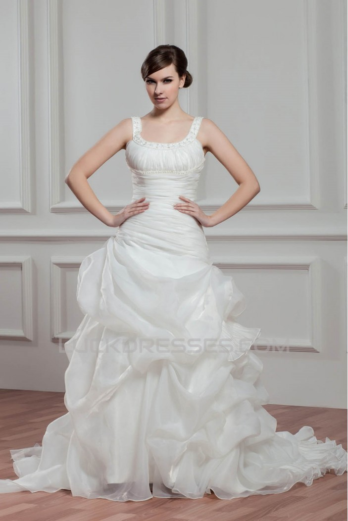 Great A-Line Sleeveless Straps Satin Organza Wedding Dresses 2030723