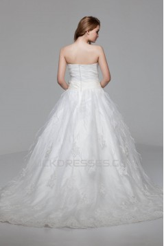 Great Ball Gown Soft Sweetheart Satin Organza Lace Wedding Dresses 2030725