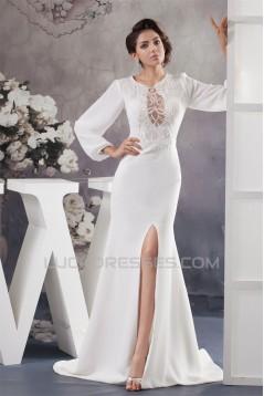 Sheath/Column Long Sleeve Sweep Train Best Wedding Dresses 2030726